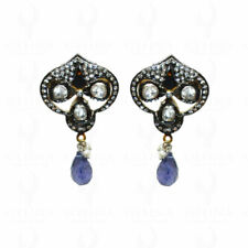 IOLITE & WHITE SAPPHIRE GEMSTONE STUDDED EARRINGS IN 925 SOLID SILVER SE011099