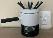 Roshco 2 Quart FONDUE White Porcelain Enamel Set w/ 6 forks-Model #58901