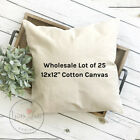 12x12 Wholesale Blank 10 oz. Cotton Canvas Throw Pillow Cover - Lot of 25 Blanks