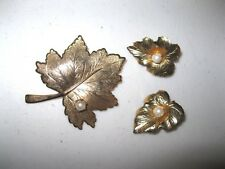 Vintage Sarah Coventry Gold tone w/ Pearls Leaf Brooch and Clip-on Earrings Set