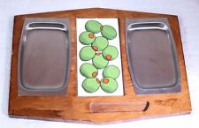 VTG 70's Wood Tile Metal Cheese Tray Hors d'Oeuvre Plate Green Olives Apx 12 x 9