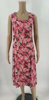 Talbots Womens Dress Size 14W Pink Floral A-line Cotton Sleeveless Fit Flare C7