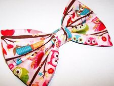 NEW FABRIC HAIR BOW W/ALLIGATOR CLIP* Little Owl * Handmade USA *FREE SHIPPING A