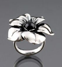 Georg Jensen Sterling Silver Flower Ring # 562A with Black Agate. NEW.