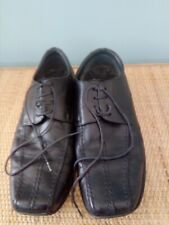 Men's Clarks Shoes, Black Leather Lace Up, Top Stitched, Size 8.5