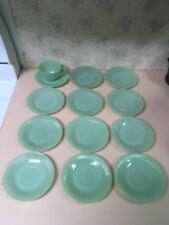 VINTAGE FIRE KING JANE RAY JADEITE DEMITASSE SAUCERs Mixed EXCELLENT 13 Pieces