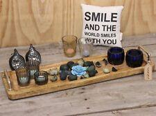 Parvat Rectangular Wooden Tray Decorative with Metal Side Handles Mango Wood