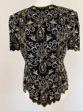 Vintage Stenay,Black beaded top,100% silk, size sm., short sleeve, zipper back.