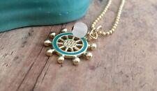 Nautical jewelry, gold necklace, helm, wheel, charm, aqua, handmade