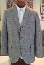 Brooks Brothers Mens 3 Btn Blue Plaid 100%  Silk Blazer Jacket Size 40 41 42 R