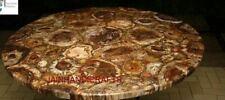 4' Black Marble Table Top Dining Center Inlay Tiger Eye Handmade Decor C142