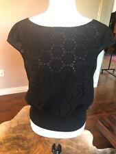 NWOT GIAMBATTISTA VALLI Black Sleeveless Boatneck Lace Crocheted Short Top SZ 12