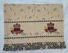 1 Noah Ark Blue Gingham Ruffle Valance Animals Stars Boat Check Plaid Baby 83x16