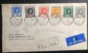1949 Tortola Leeward Island Airmail Registered  Cover To Montreal Canada