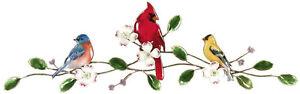 Songbirds on Dogwood Bough Metal Bird Wall Art Sculpture- Bovano W4423