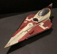 "Star Wars Clone Wars Mace Windu's Jedi Starfighter Hasbro 2008 16"" FREE SHIPPING"