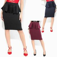 Women Ladies Peplum Pencil Midi Skirt Ruffle Frill Waist Bodycon Party Office