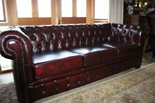 A Large Brand New 100% Leather Chesterfield 3.5 Seater Sofa Lounge Ox-Blood