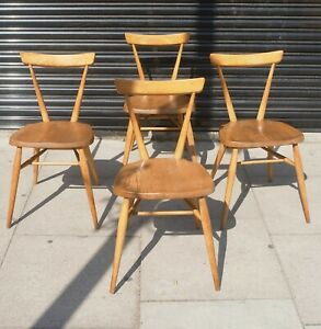 4x adult vintage 1960s Ercol single bar stacking dining chairs