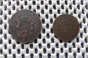 LUXEMBOURG.  10 centimes 1860.  5 centimes 1854.