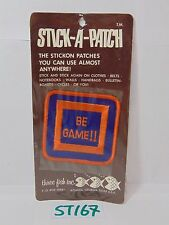 VINTAGE 1970'S EMBROIDERED STICK-A-PATCH THREE FISH-BE GAME-SQUARE VIDEO