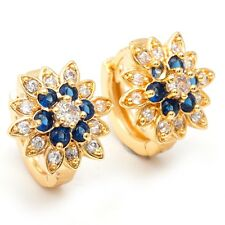 Queen Jewelry Blue Clear Round Cubic Zircon Gold Plated Lady Girl Hoop Earrings