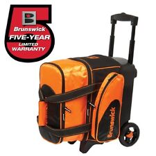 Brunswick Flash 1 Ball Roller Bowling Bag with Wheels Orange Handle Extends 39""