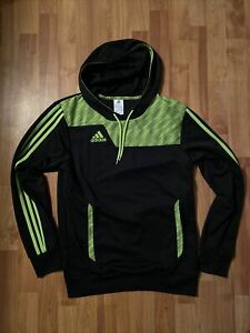 adidas climalite polyester men's small black neon green hoodie
