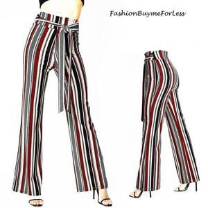 70s Retro Hippie Ponte Stretch Knit Stripes Flared Wide Leg Palazzo Pants S M L