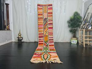 "Handmade Moroccan Boujad Runner Rug 2'3""x11'6"" Orange Striped Wool Berber Carpet"