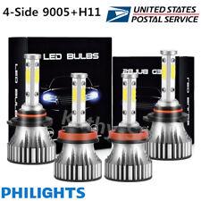 4-Sides 9005 H11 LED Hi-Low Beam Headlight Kit Combo Fog Light Bulbs 6000K HID