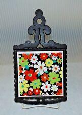 Mid Century Vintage Japan Black Cast Iron & Tile Daisy Flower Kitchen Trivet A4