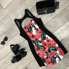 ~ NEW WOMENS DRESS ~ BLACK FLORAL ~ BODYCON