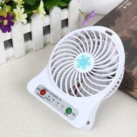 Mini Desk USB 18650 Battery Fan Portable Rechargeable LED Light Fan Air Cooler