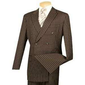 VINCI Men's Brown Pinstripe Double Breasted 6 Button Classic Fit Suit NEW