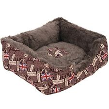 British Print Pet Bed (Brown) for Dog and Cat NOVELTY UNION JACK PRINT washable