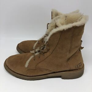 Ugg Quincy Lace Up Brown Shearling Boots Size 7 Chestnut Womens 1012359