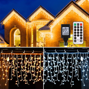 Icicle Lights Outdoor, B-right 440 Led Icicle Christmas Lights Warm White&Cool 1