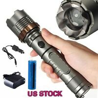 990000LM Rechargeable LED Flashlight T6 Tactical Police Torch+Batt+Car&Wall Char