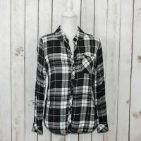 Rails Women's Button up Flannel Shirt Gray Black White Plaid Rayon Size Small