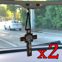 (2) Catholic Religious St Benedict Wooden Crucifix Cross CAR MIRROR HANGING