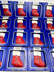 2021 Initial Christmas Stocking Letter Harvey Lewis Swarovski Monogram Ornament
