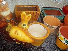 Lot Of Small Ceramic Plant Pots Garden Home Pot Planters + Gnome + Rabbit