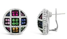 Le Vian® Earrings - Sapphire, Tsavorite, Ruby, Vanilla Diamonds® 18K White Gold