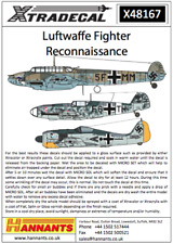 NEW 1:48 Xtradecal X48167 Luftwaffe Reconnaissance Fighters Bf-109 / Bf-110