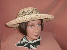 Betmar New York Straw Boater Hat with Animal Print Scarf