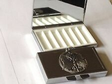 Psyche dr67 Fine English Pewter On Mirrored 7 Day Pill box Compact