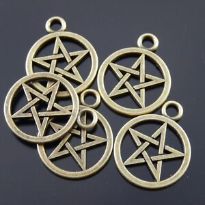 33941 Vinatge Bronze Alloy Pentagram Magic Round Charms Pendants Crafts 20pcs