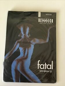 Vintage 80's Wolford Fatal Semi-opaque 50 Seamfree Black Tights NWT
