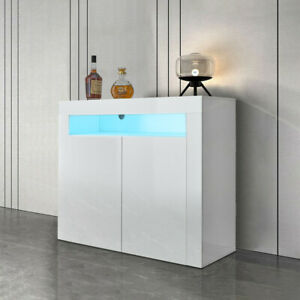 2 Doors White Sideboard Cabinet High Gloss Cupboard Storage Furniture With LED
